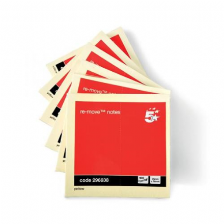 5 Star Re-move Notes 76x76mm Yellow Pack of 6 x 100 Notes